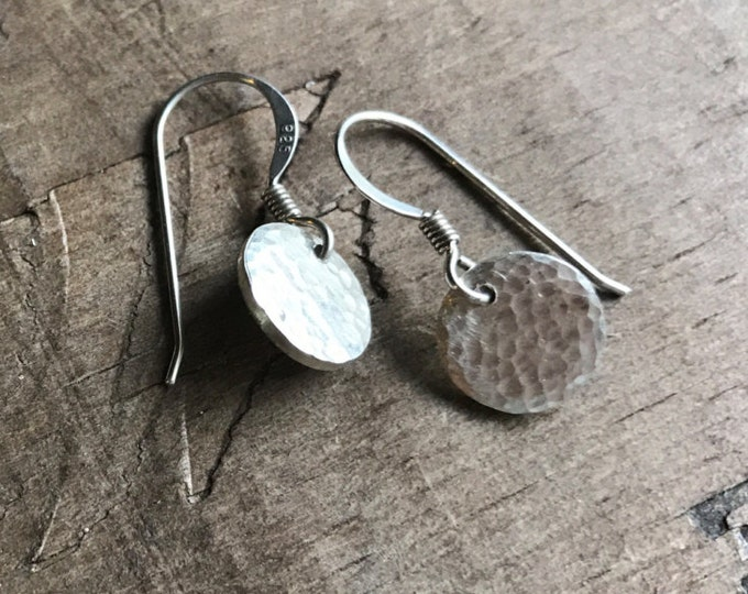 Mini silver Earrings sterling silver discs Earring Handmade Sterling SIlver Forged Textured French Hooks
