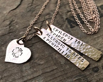 Rose Gold Medical Jewelry Medical Alert Necklace Diabetic Alert Custom Medical Allergy Alert