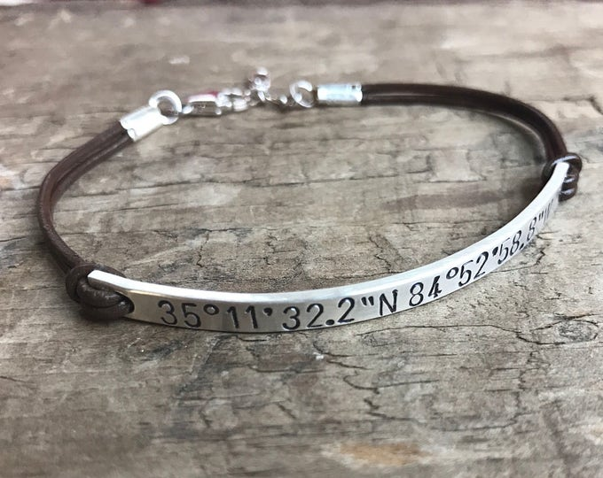 Personalized Bracelet Silver & Leather Sterling Silver Bracelet Custom Bracelet GPS Coordinates or Longitude Latitude Hipster Gift