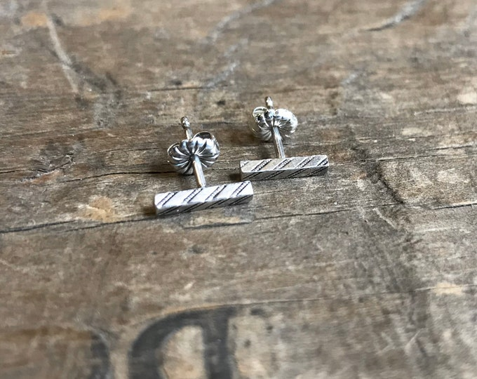 Tiny Bar Earrings Silver Earrings Bar Stud Earrings Sterling Silver Stud Earring Handmade Sterling silver bar studs