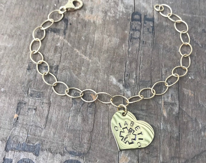 Medical Alert Bracelet Gold Heart Diabetic Women's Medical Jewelry