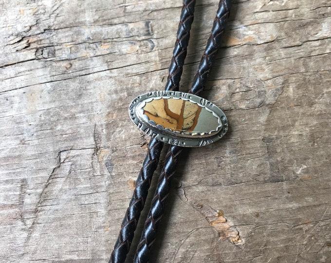 Bola tie large Bolo Tie Gemstone Oregon Biggs Jasper in sterling silver thick Dark Brown leather bolo cord bolo tie adjustable
