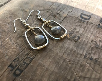 Silver and Gold Labradorite Earrings sterling silver Earring Handmade Sterling silver Gemstone Labradorite Earrings Sterling Silver