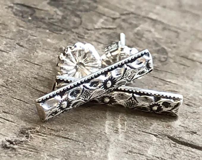 Silver Floral Bar Earrings Bar Stud Earrings oxidized Sterling Silver Stud Earring Handmade Sterling silver studs