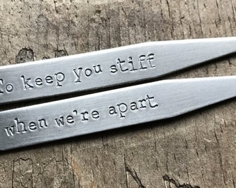 Mens Sexy Gift Shirt Studs Personalized Mens Collar Stays Men's Custom Stainless Steel Collar Stay Set Groom Gift Wrapped