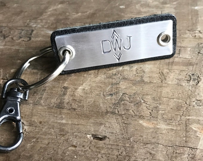 Initials Monogram Keychain Custom Initials Gift Leather Key fob Personalized Leather Hipster Personalized Grad Gift