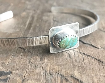 American Turquoise Cuff bracelet sterling silver boho stacking bracelet