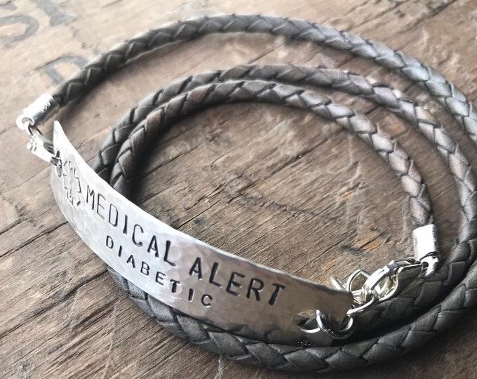 Sterling silver Medical bracelet Jewelry Medical Alert leather bracelet Diabetic Alert Custom Medical Allergy Alert