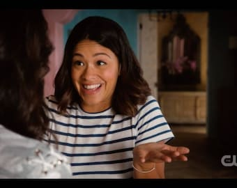Jane The Virgin Bracelet worn by Gina Rodriguez - Silver Mom Bracelet Personalized Sterling Silver Name Bracelet as seen on tv worn by Jane