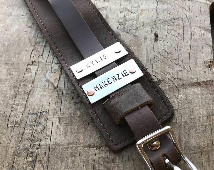 Leather Dad Bracelet Personalized Dad Gift Leather Cuff Fathers Day Bracelet Dad Tag with Sterling Silver Leather Cuff Buckle