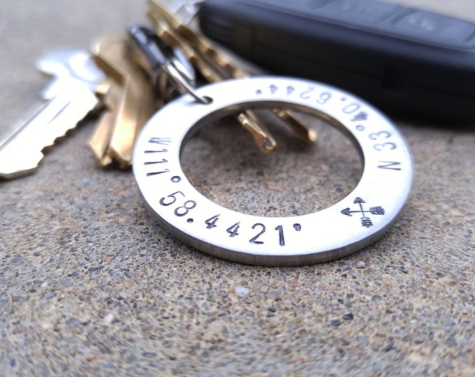 Mens Personalized Steel Keychain Solid Stainless Steel Anniversary Mens Keyfob Custom Order Keychain