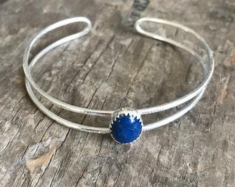 Lapis Lazuli Bracelet solid sterling silver blue gemstone cuff bangle boho bracelet