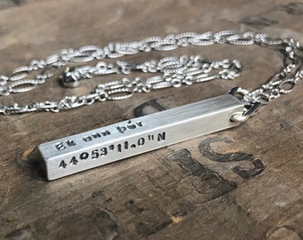Men's Personalized Necklace Sterling Silver SOLID Bar Necklace 4 Sided Dad Hipster Daddy Necklace bar dad