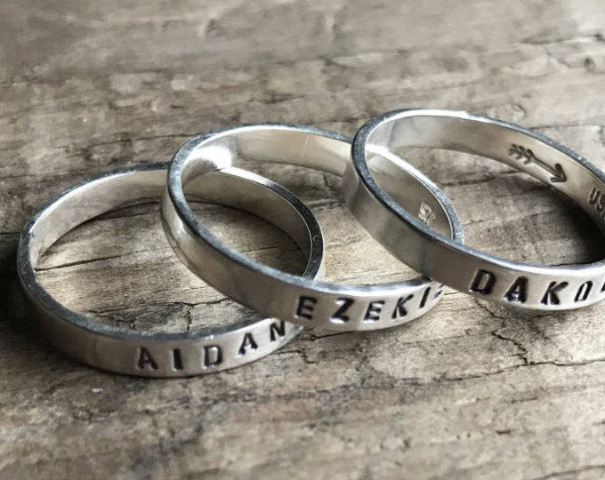 Set of Three 3 Mom RIngs Personalized Mom Rings Womens Sterling Silver Childrens Names Ring Stacking Skinny Rings Kids Names