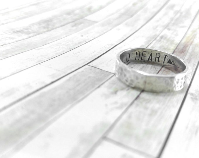 Personalized Ring Band Wedding Ring Sterling Silver Rustic Band Solid Sterling Silver Rustic Ring Customize