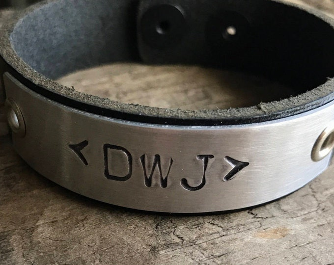 Custom Leather Bracelet Personalized Initials Monogram Unisex Leather Bracelet