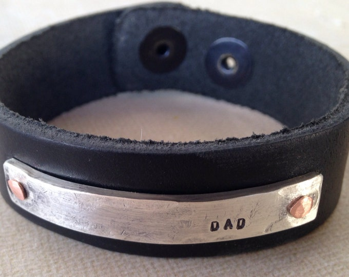 Memorial Dad bracelet leather and sterling silver Rustic In Memoriam Dad Leather Bracelet