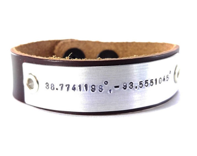 Mens Leather Bracelet Personalized GPS Coordinates Bracelet- Longitude Latitude Custom