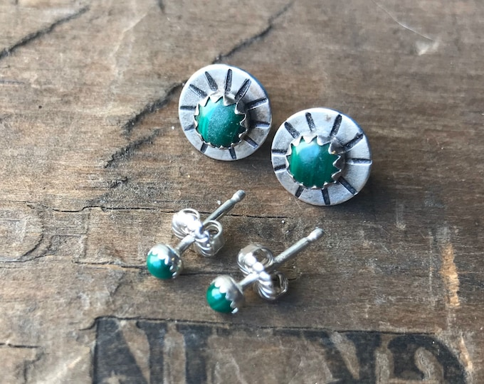 Malachite handmade silver earring studs green earrings