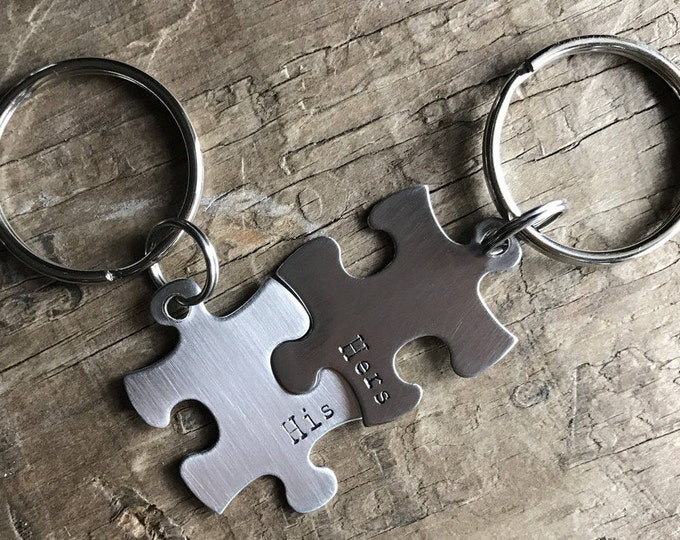 Puzzle Keychains Set of 2 Puzzle pieces Best Friends Couples or His & Hers Stainless Steel Keychains