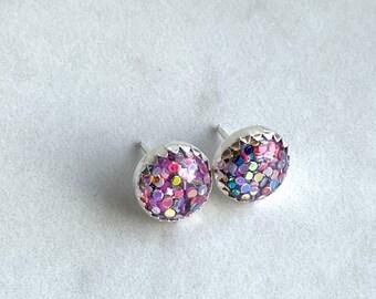 Rainbow glitter in sterling silver 10mm stud earrings