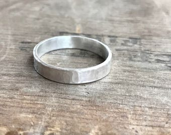 Mens Personalized Ring Band Wedding band || Rustic Sterling Silver