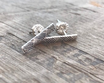 Silver Earrings Bar Stud Earrings Sterling Silver Stud Earring Handmade Sterling silver studs