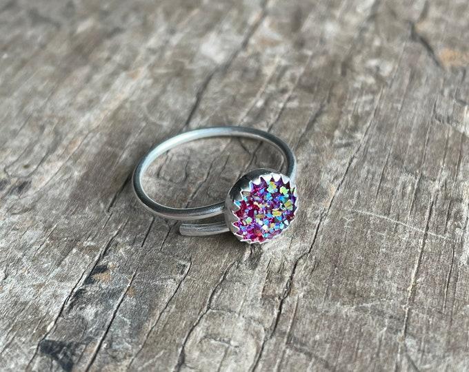 Pink Rainbow Druzy Ring adjustable sterling silver with hot Pink druzy solid sterling silver adjustable size ring 8mm faux druzy pink ring