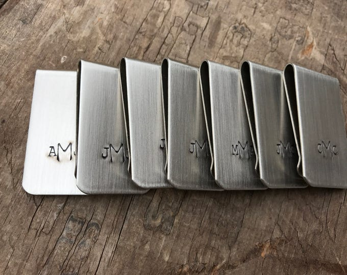 10 Money Clips Custom Initials Men's Moneyclips SET of ten Personalized Wedding Groomsmen Gifts for Groom