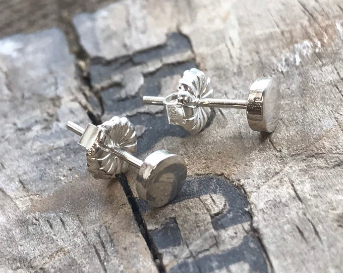 Tiny Silver Stud Earrings Sterling SIlver Forged Disk shiny Stud Earrings Sterling Earrings Sterling Silver studs