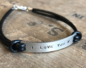 Personalized Valentine Bracelet || Personalized Friendship Bracelet Custom Message on stainless steel & leather