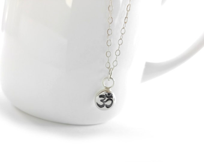 Om ॐNecklace Recycled Sterling Silver Om Charm Meditation Spiritual Yoga Sacred Mantra