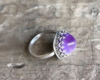 Amethyst Sterling Silver Ring February Birthstone Square Amethyst Sterling silver Filigree Ring