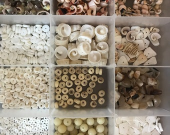 Huge lot of bead seashells DESTASH natural seed shells mother of pearl carved seed etc
