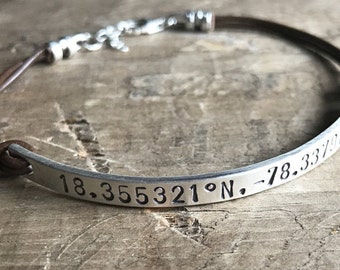 Personalized Leather Bracelet Unisex Graduation Gift Sterling Silver Custom Bracelet GPS Coordinates