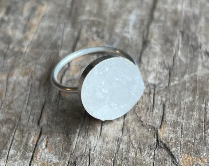 Crustal Druzy Ring adjustable sterling silver with Faux crystal druzy solid sterling silver adjustable size ring 12mm faux druzy ring