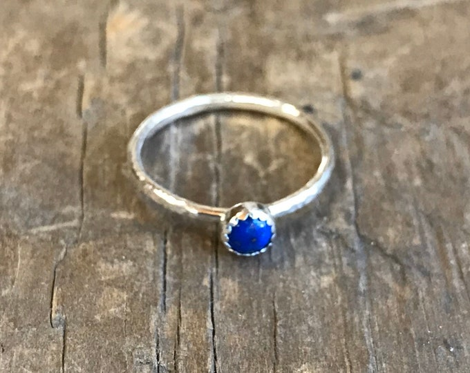 lapis lazuli ring stacking ring sterling silver truth honesty creativity