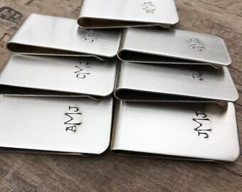 6 Money Clips Custom Initials Men's Moneyclips SET of 6 Wedding Groomsmen Gifts for Groomsman Best Man Groom