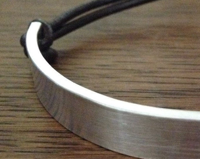 Custom dad sterling silver Rustic Silver Dad Bracelet Personalized Men's Leather Bracelet Leather Sterling Silver bracelet
