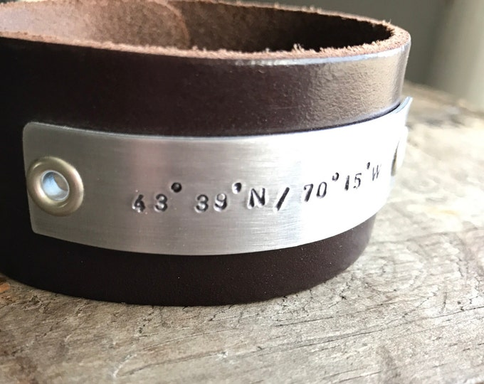 Wide Leather Cuff Personalized Dad Leather Bracelet Men's Leather One inch Wide Cuff Fathers Bracelet