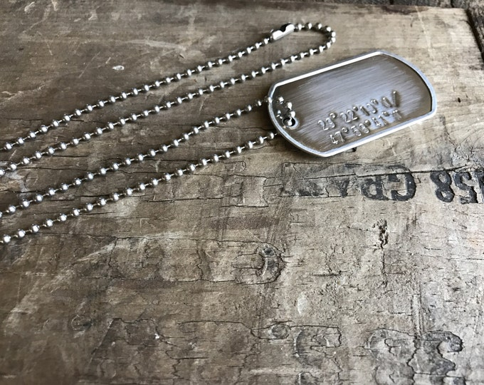 2 GPS Dog tags Necklace Stainless Steel Personalized Men's Coordinates Necklace Longitude Latitude