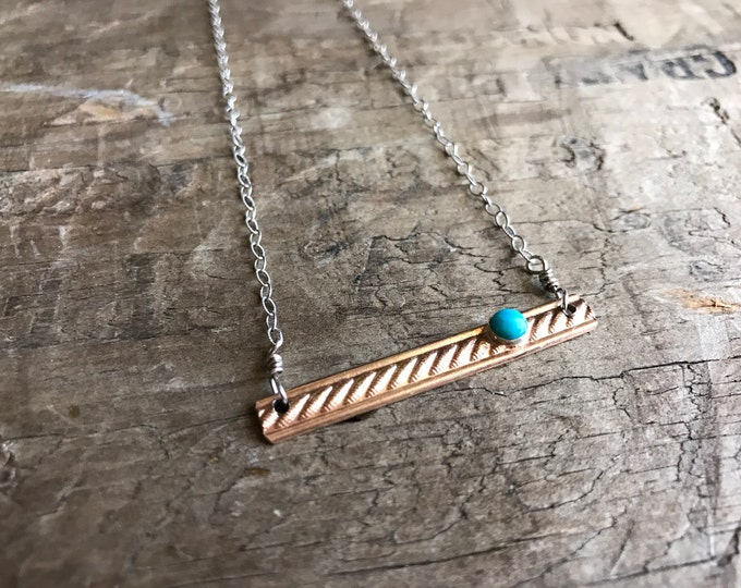 Gold bar turquoise necklace || sterling silver chain - 14k gold filled - American Turquoise