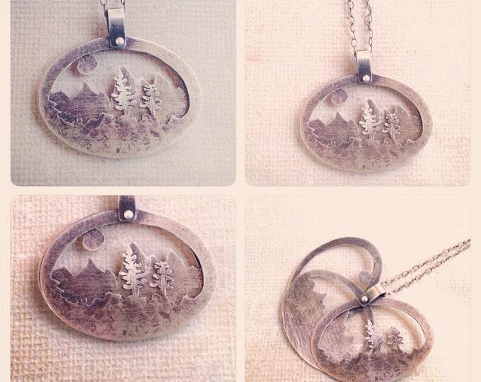 Rustic Silver Mountain landscape necklace Series 3-D Long Necklace sterling silver mountainscape OOAK 3-D necklace delicate handmade
