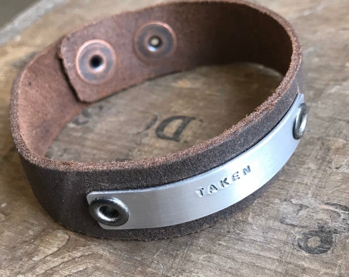 Custom Suede Bracelet Gift Leather Suede Bracelet Personalized on Aluminum & Leather Bracelet