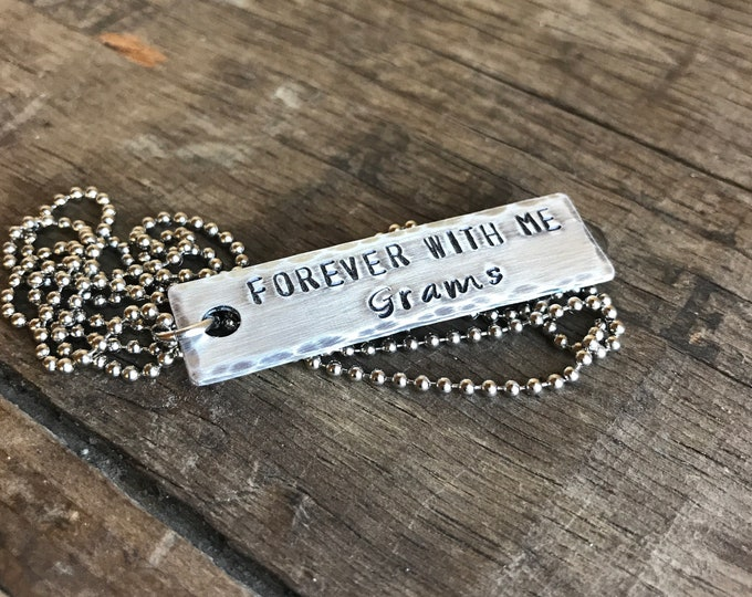 Memorial necklace -A Personalized Necklace Aluminum pendant on stainless steel ball chain