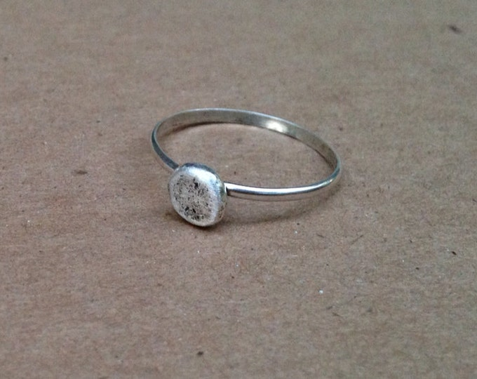 Recycled Sterling Silver Ring Pebble skipping stone ring Solid Sterling Silver Rustic Ring