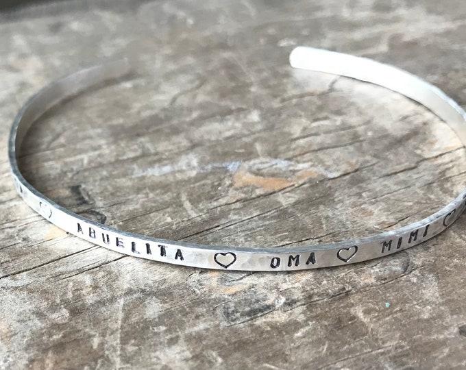 Abuelita bracelet Grandma Abuelita Oma Mimi Nona Mamie custom sterling silver cuff bracelet Mothers Day gift for grandma