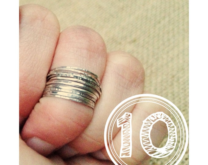 10 Sterling Silver stack rings set of ten midi rings sterling silver knuckle rings Rustic Ring Set