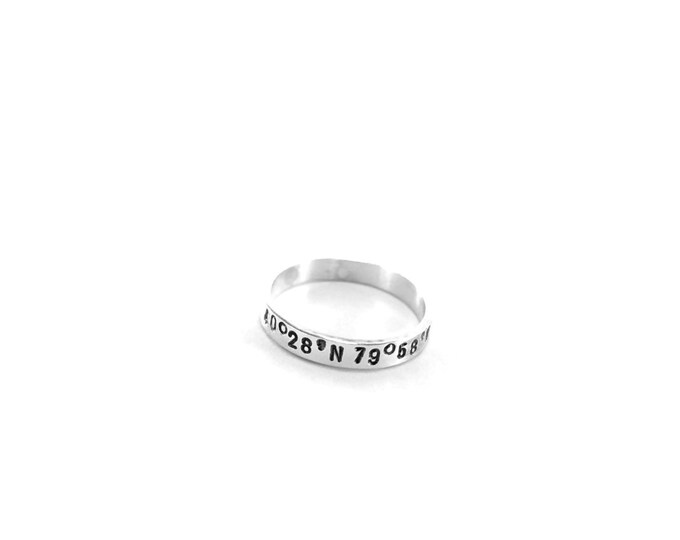 Personalized Ring Coordinates Sterling Silver Ring Personalized Skinny Stacking Coordinates Ring Longitude Latitude Custom GPS Coordinates
