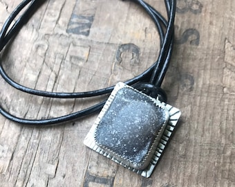 Sterling Silver Druzy Crystal necklace on black leather sterling silver healing gray druzy crystal